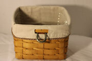 2008 New Longaberger Tv Time Basket, Fabric, Custom Protector, Sort And Store
