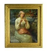 Impressionist C. 1900 Oil Painting Of Lace Maker J. Califano Chicago Italian
