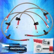 For 88-91 Prelude Ba4 Front Rear S/s Braided Hose Oil Brake Lines Cable Silver