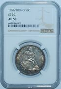 1856 O Ngc Au58 Fs-301 Rpd Repunched Date Seated Liberty Half Dollar