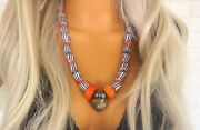 Moroccan Amber Necklace Fossil Ammonite Heart Necklace African Trade Krobo Beads
