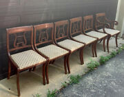 6 Antique Mahogany Lyre/ Harp Duncan Phyfe Dining Chairs Local Pickup 22508