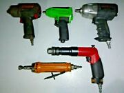 Lot Of 5 Air Tools Impact Wrench Drill Atlas Copco Snap-on Etc. For Repair