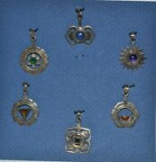 Antique Faceted Chakra Pendant Charms Sterling Silver W/natural Gemstones And Case