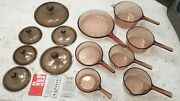 Corning Ware Visions 13 Piece Amber Glass Cookware Pots Pans And Skillets W/lids