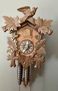Authentic German Birds And Leaves Traditional Black Forest Cuckoo Clock