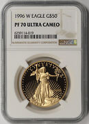 1996-w American Gold Eagle 50 One-ounce 1 Oz Proof Pf 70 Ultra Cameo Ngc
