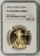1992-w American Gold Eagle 50 One-ounce 1 Oz Proof Pf 70 Ultra Cameo Ngc