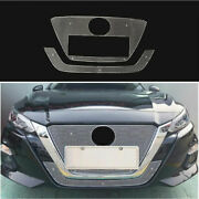 For 2019-2021 Nissan Altima Teana Silver Honeycomb Center Hood Grill Mesh 2pcs