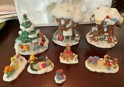 Disney Christmas In The 100 Acre Wood Pooh Village 8 Piece Set Read No Lights