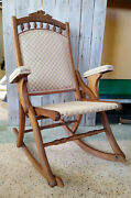 Antique Vtg Victorian New Haven Folding Chair Co Rocking Chair