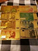 Euro Gold Banknote Foil Set Of 8 Bills Great For Collectors Great Quality Bills