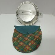 Vintage Official Girl Scout Mess Kit Camping Aluminium Cookware With Plaid Pouch