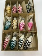 Very Rare Vintage Mercury Glass Feather Tree Frosted Glitter Pinecones