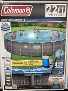 Coleman Power Steel 22and039 X 52 Above Ground Swimming Pool W/ Pump And Ladder Local