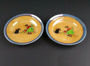 Vintage Trinket Dish Or Doll Dishes Girl Giving Cat Milk Irridescent Set Of 2