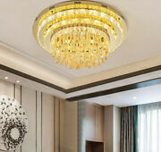 Remote Simple Living Room Modern Dimmable Led Round Crystal Ceiling Lamp Light