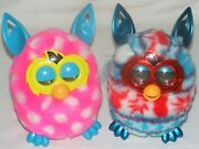 2012 Hasbro Furby Boom Pink And White Polka Dot And Red White And Blue Snowflake