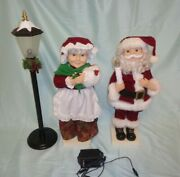 Vintage 1990s Santa And Mrs Claus Animated Lighted Figures Kmart Lamp 19 Tall