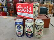 Coors Commemorative Retro Flat Tops Beer Cans Plus 6 More Cans In 6 Pack Holder