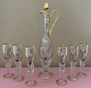 Vintage 8 Pc Venetian Murano San Marco Floral And 24k Gold Decanter Set Never Used