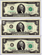 ✯lot Of 3 Choice Uncirculated Two Dollar Crisp 2 Sequential Star Notes 1976✯
