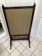 Large Antique English Or French Mahogany Hand Carved Fireplace Fire Screen