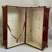 Vintage Red Maroon Metal 18 Doll Chest Steamer Trunk Wardrobe Carrying Case