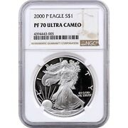 2000-p American Proof Silver Eagle One Dollar Coin Ngc Pf70 Ultra Cameo