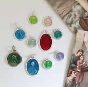 Enameled Religious Medals Set Of 10 Vintage French Pendants Catholic Charms