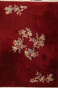 Antique Art Deco Nichols Chinese Floral Oriental Area Rug Wool Hand-knotted 9x12