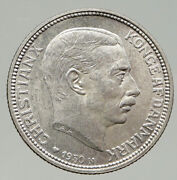 1930 Denmark Kings Christian X Antique Vintage Old Silver 2 Kronor Coin I93132