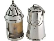Rare French Silver Salt / Sel And Pepper / Poivre Shakers Watchmanand039s Ship Lantern