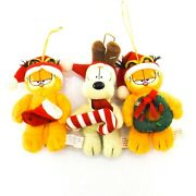 Vintage Lot Of 4 Plush Garfield The Cat And Odie The Dog Collectible Ornaments