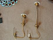 Two Antique Brass Gas Light Single Arm Fixtures Now Electric Polished Restored