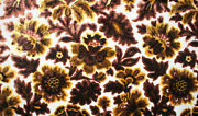 Vintage Cut Velvet Brown And Gold Floral Leaves Chenille Upholstery Fabric 54x36