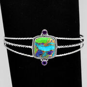 Multi Copper Turquoise And Amethyst 925 Silver Cuff Bangle Bracelet Jewelry 0706