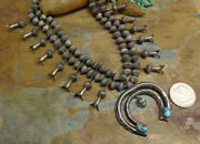 1930s 185g Navajo Sterling Turquoise Fluted Bench Bead Squash Blossom Necklace