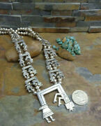 Sale. Wow Navajo Sterling Rainbow Man Kachina Squash Blossom Necklace Old Pawn