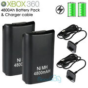 For Xbox 360 Wireless Game Controller Usb Charging Cable W/ 4800mah Battery Pack