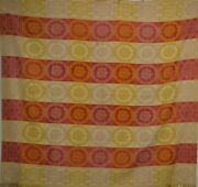 Early Damask Cotton Table Cloth Red Gold 61x57 Very Good Original 19th C