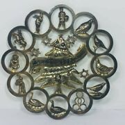 Godinger Silver Art Co 12 Dayand039s Of Christmas Wreath Wall Hanging Trivet 9.5