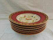 Fitz And Floyd Global Market Red Bird 6 Large Rim Soup Bowls 10.25 Unused W2s13