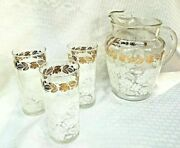 Vintage Mid Century Modern Glass Pitcher And 3 Tumblers Gold White Flowers