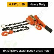 0.75ton 5ft 1.5m Ratcheting Lever Block Chain Hoist Come Along Puller Pulley New