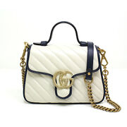 Pre-owned 583571 Gg Marmont Handbag White Dark Blue Leather Free Shipping