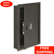 Electronic Lock With Key Backup In Wall Safe Hidden Security Compartment