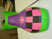 Bombardier Ds650 Seat Cover Pink Black Checkered Design Green Purple Color