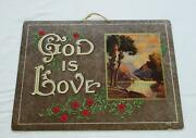 Old Vintage 1940s Print Board Mountain Flowers God Is Love Wall Sign Decor