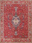 8and039x10and039 Vegetable Dye Heriz Serapi Oriental Area Rug Hand-knotted Red Living Room